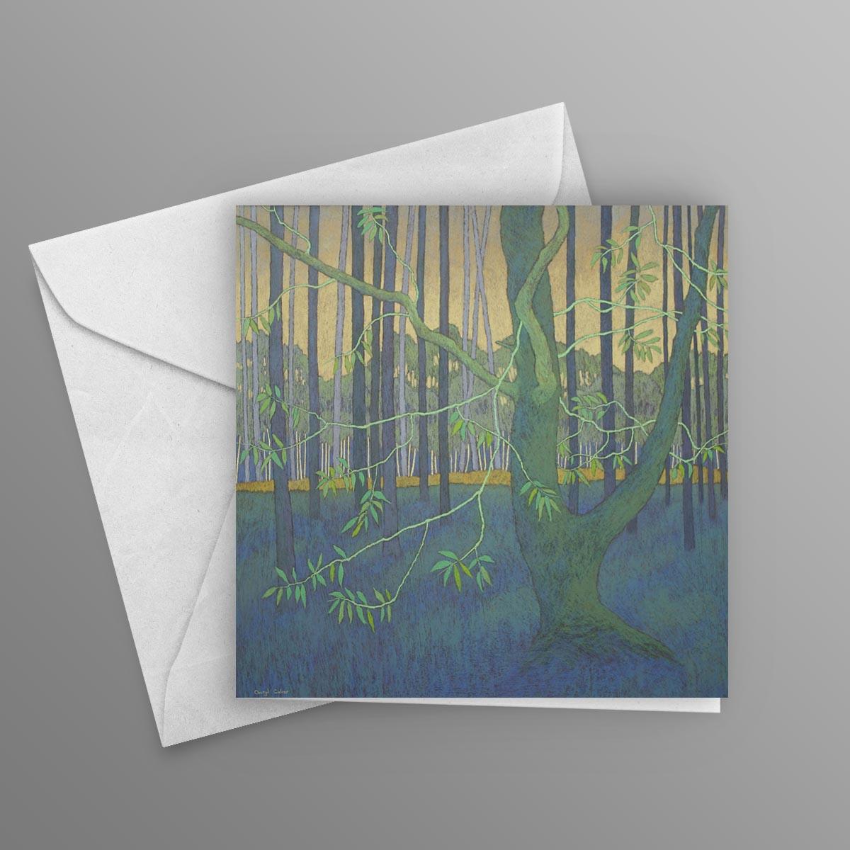 In the shade of the tall forest pines greetings card 145mm x 145mm in the shade m4hsunfo